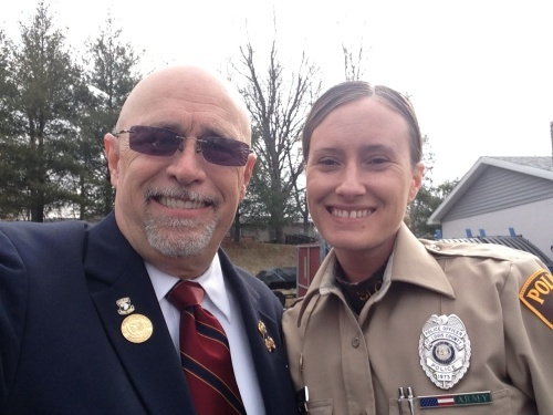 State Commander with a County Police Officer